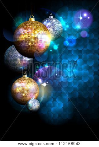 Blue polygon background with fur tree golden and silver mosaic balls with place for text.