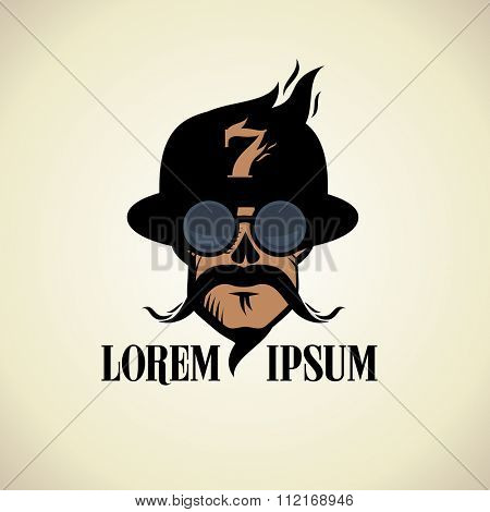 Stylish logo with skull dressed in bowler hat and steampunk goggles glasses.