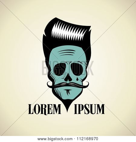 Graphic fashionable skull with hipster hairstyle and moustache, art logo.