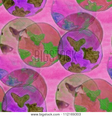 Earth Planet pink watercolor seamless texture wallpaper