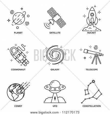 Space vector icons set, modern line style