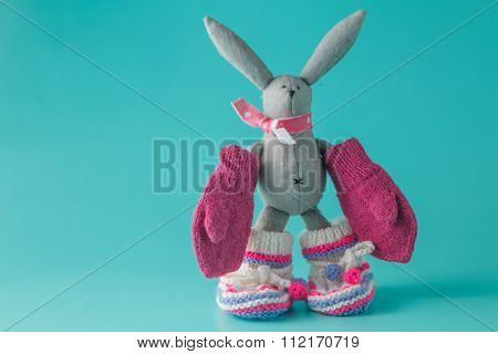 Newborn Announcement With Knitted Bootie