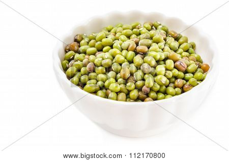 Mung Beans In White Cup.