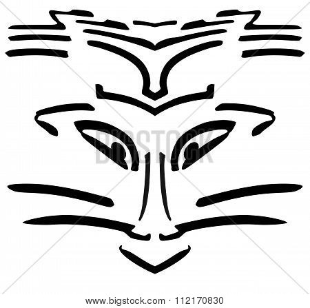 Hand Draw Illustration With Abstract Face Portrait