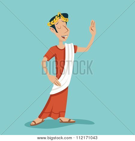 Greek Roman Retro Vintage Businessman Cartoon Character Icon on Stylish Background Design Vector Ill