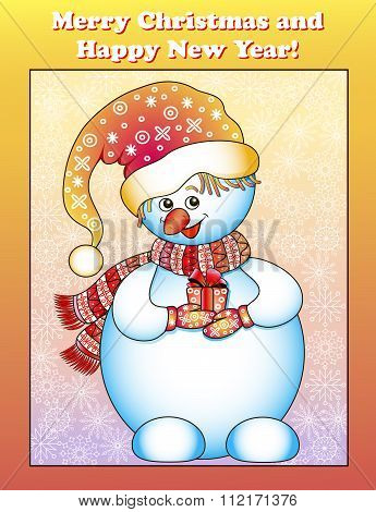 illustration greeting card with a snowman and gifts