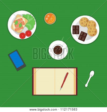 Vector flat healthy breakfast or lunch top view