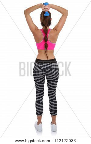 Fitness Woman At Sports Workout Training Back Shoulder Triceps With Dumbbell Full Body