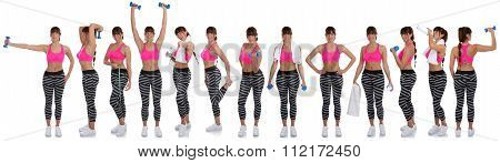 Collection Of Fitness Woman Sports Workout Training With Dumbbells Full Body Isolated