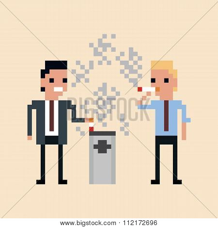 pixel art Illustration of office workers smoking a cigarette