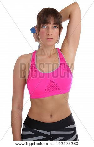 Fitness Woman At Sports Workout Training Triceps Exercise With Dumbbell