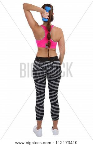 Woman At Sports Workout Training Back Shoulder Triceps With Dumbbell Full Body