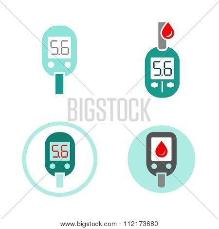 Diabetes Glucometer Icons