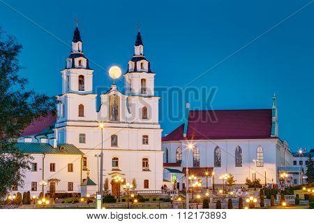 Moonrise over Cathedral Of Holy Spirit In Minsk, Belarus