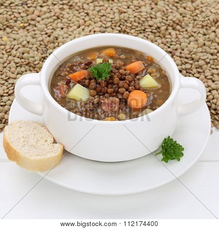 Healthy Eating Lentil Soup Stew With Fresh Lentils In Bowl