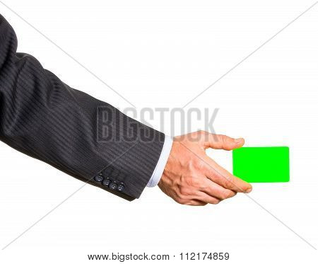 White Plastic Card In Man Hand Isolated