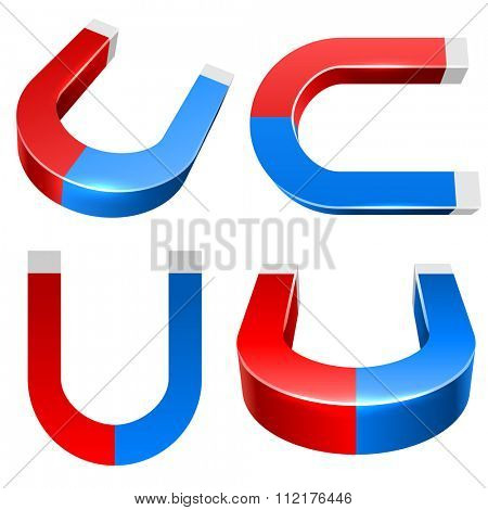 3D red and blue magnet illustration isolated on white background.