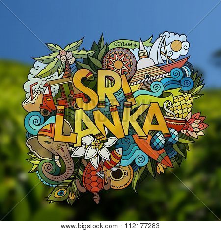 Sri Lanka hand lettering and doodles elements emblem