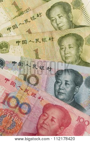 Chinese Yuan Renminbi bank notes close-up