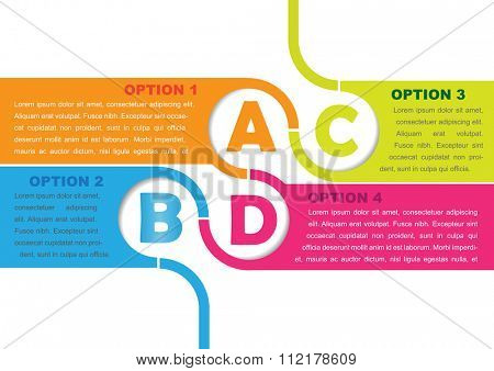 Vector background with four choices ABCD and a place for text