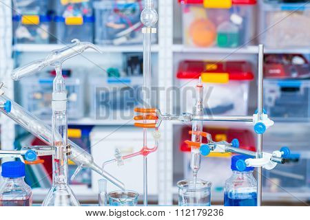chemical glass setup in laboratory