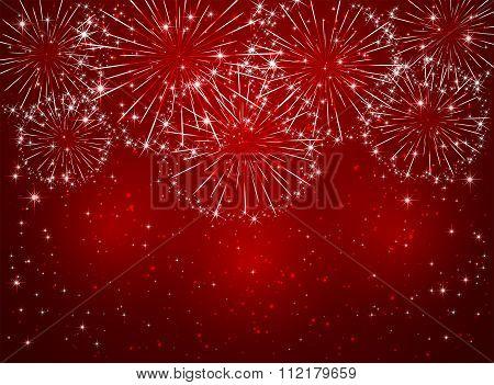 Sparkle Firework On Red Background
