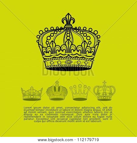 Collection of vintage elegant ancient crowns