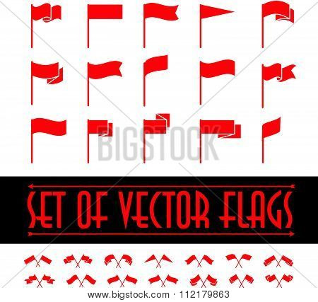Vector set of different flag shapes.