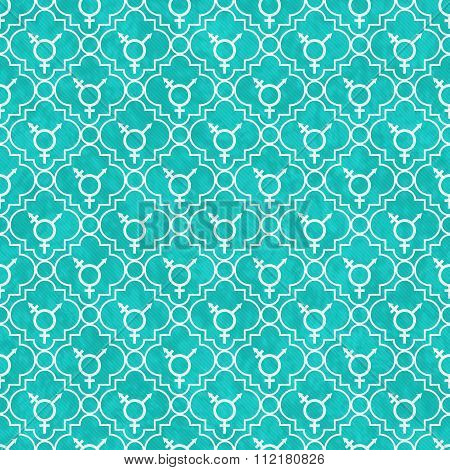 Teal And White Transgender Symbol Tile Pattern Repeat Background