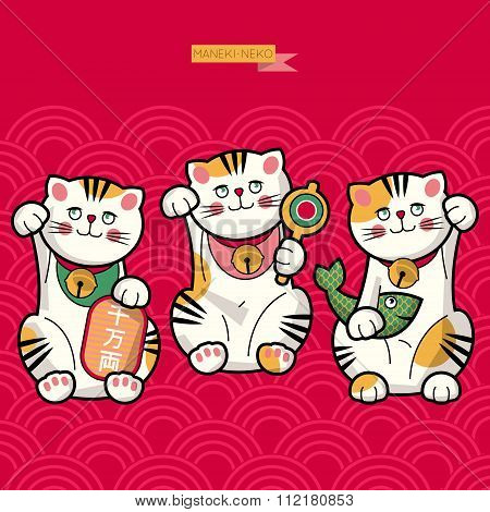 Traditional Japanese Lucky Cat. Maneki-neko.