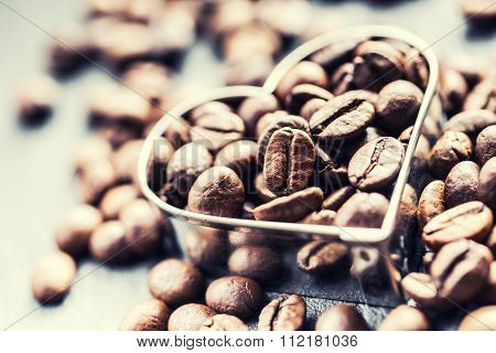 Coffee beans in the form of heart.