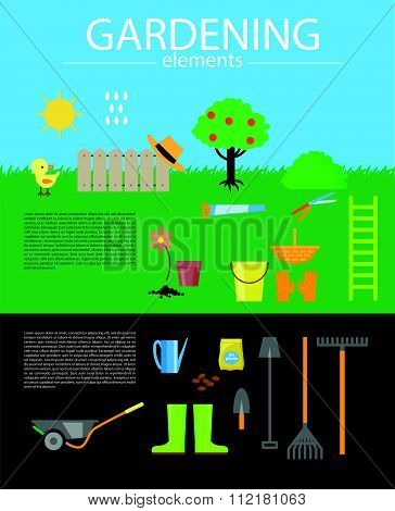 Gardening flat icons collection.