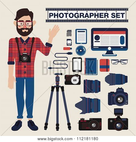 Professional Photographer Set - Cameras, Lenses And Photo Equipment