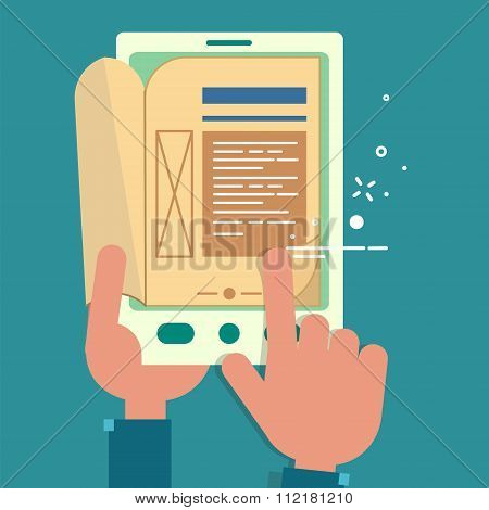 Reading Books. E-book With Hands. Flat Design In Vector