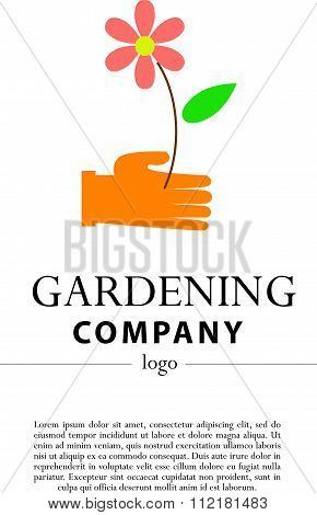 Vector flat illustration of gardening company logo
