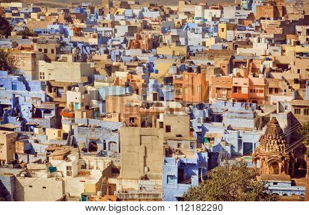 Yellow Color And Blue Concrete Constructions Of Historical City In India