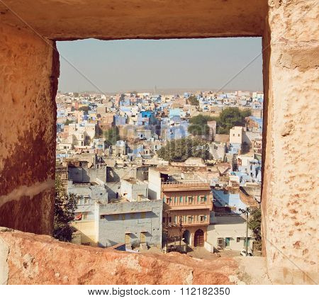Window View With Colorful Concrete Constructions Of City In India