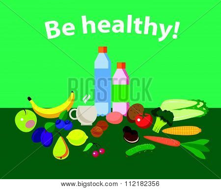 Vector set of fresh and health food