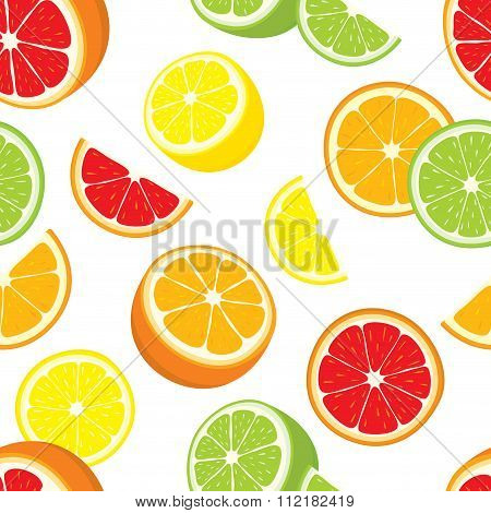 Vector seamless background of lemon, orange, lime, grapefruit slices.