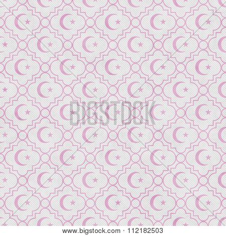 Pale Pink And White Star And Crescent Symbol Tile Pattern Repeat Background