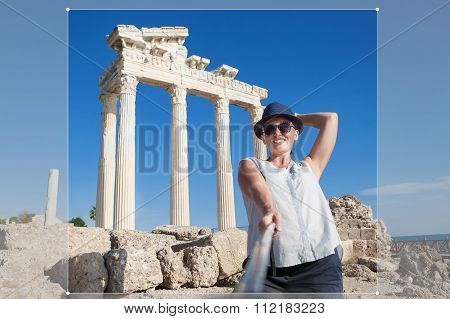 Pretty Young Woman Take A Self Photo On The Antique Temple View Post For Social Networks