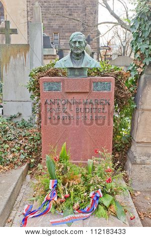 Poet Antonin Marek Tomb In Vysehrad Cemetery, Prague