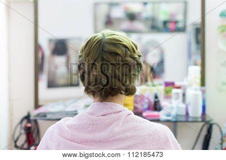 Woman Long Braid Hair Creative Styling Bride Hairstyle In Beauty Salon