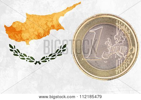 One Euro Coin On The Flag Of Cyprus As Background