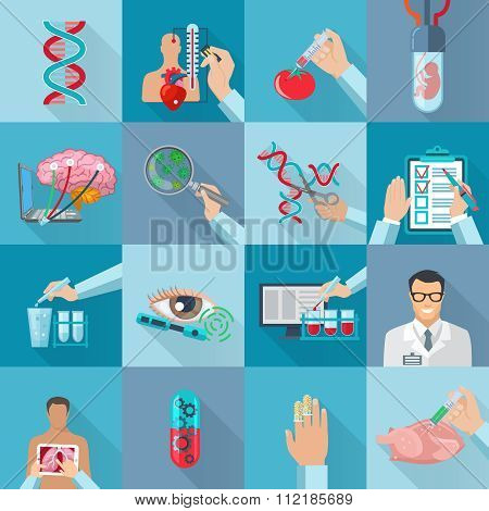 Flat Isolated Biotechnology  Icons Set