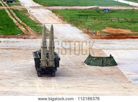 MOSCOW REGION  -   JUNE 10: Russian tactical ballistic missile on a launcher in the position  -  on June 10, 2015 in Moscow region