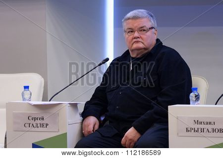ST. PETERSBURG, RUSSIA - DECEMBER 15, 2015: Violinist and conductor Sergey Stadler at the plenary session