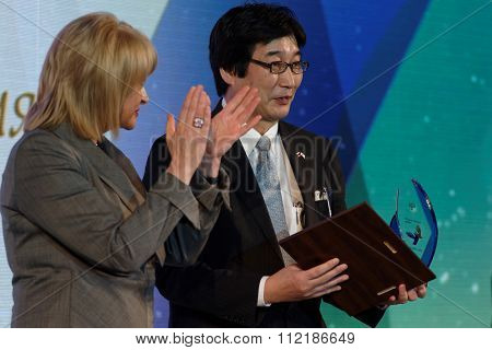 ST. PETERSBURG, RUSSIA - DECEMBER 14, 2015: General director of Mitsubishi Corporation (Russia) LLC Minoru Furusawa got the award Philanthropist of the Year at the 4th St. Petersburg Cultural Forum
