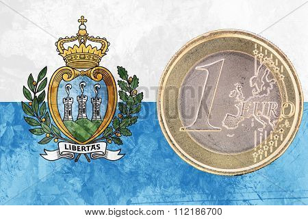 One Euro Coin On The Flag Of San Marino As Background