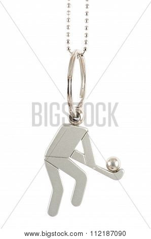 Isolated Hockey Player Keychain
